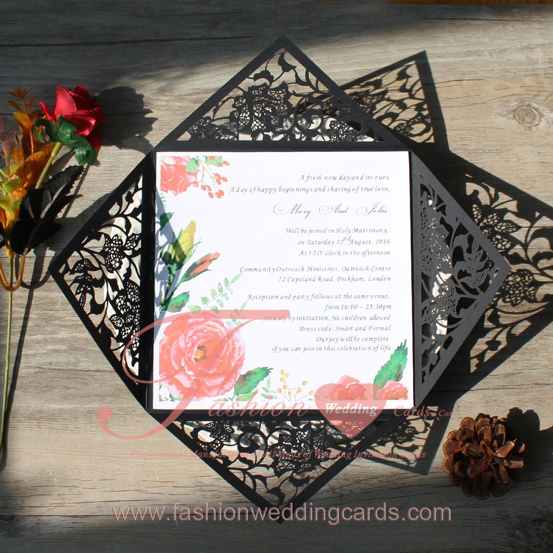 Black Laser Cut Wedding Invitations | Floral Laser Cut Wedding ...