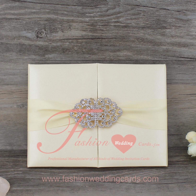 Custom Elegant Silk Wedding Invitation Folio With Crystals