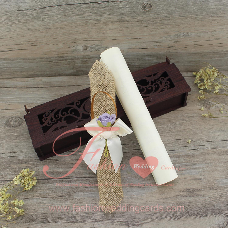 Scroll Wedding Invitation In a Box | Hemp Wedding Invitation